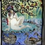 MANZANA_La baigneuse et les canards_vitrail_25,5 x 22cm
